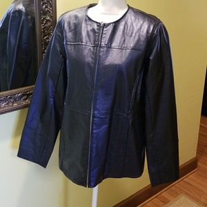Navy Blue Faux Leather Zip Jacket